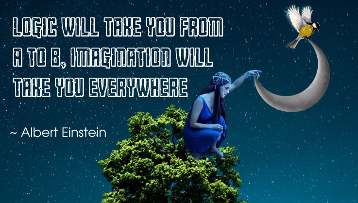 Albert Einstein quote | Logic will take you from A to B, imagination will take you everywhere