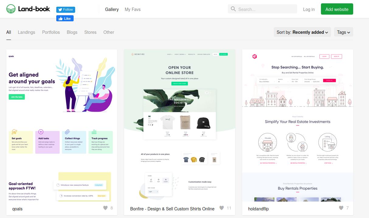 Land-book website for website design inspiration