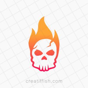 Fire flaming skull logo