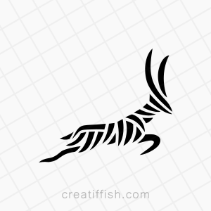 Lines leaping running antelope logo