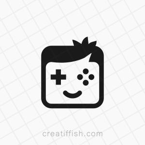 Smiling gaming boy logo